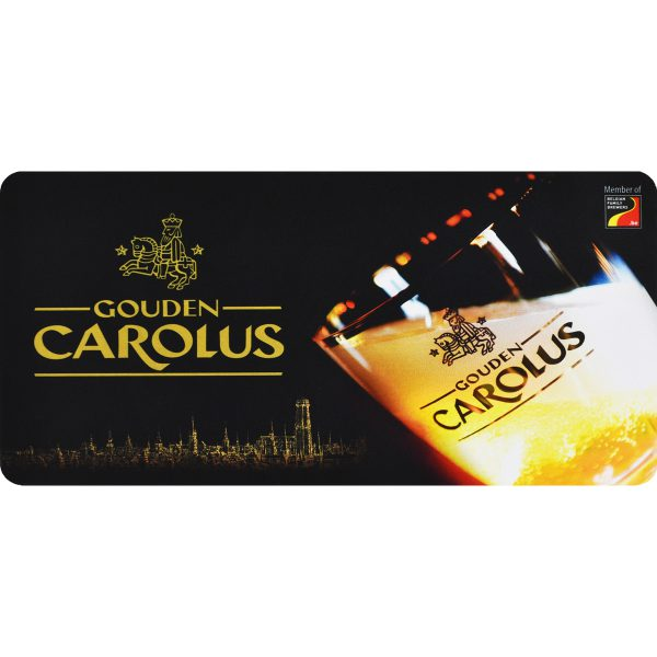 Barmat Gouden Carolus met logo, glas en Mechelse skyline