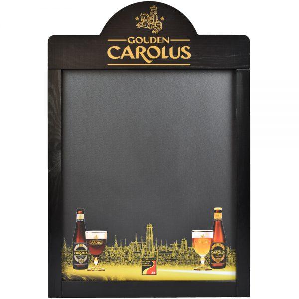 Krijtbord Gouden Carolus met producten onderaan