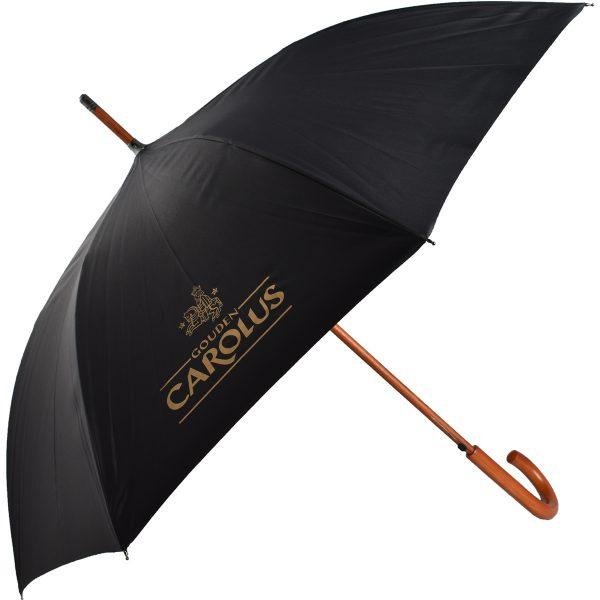 Paraplu Gouden Carolus met zwarte stof en Gouden Carolus logo