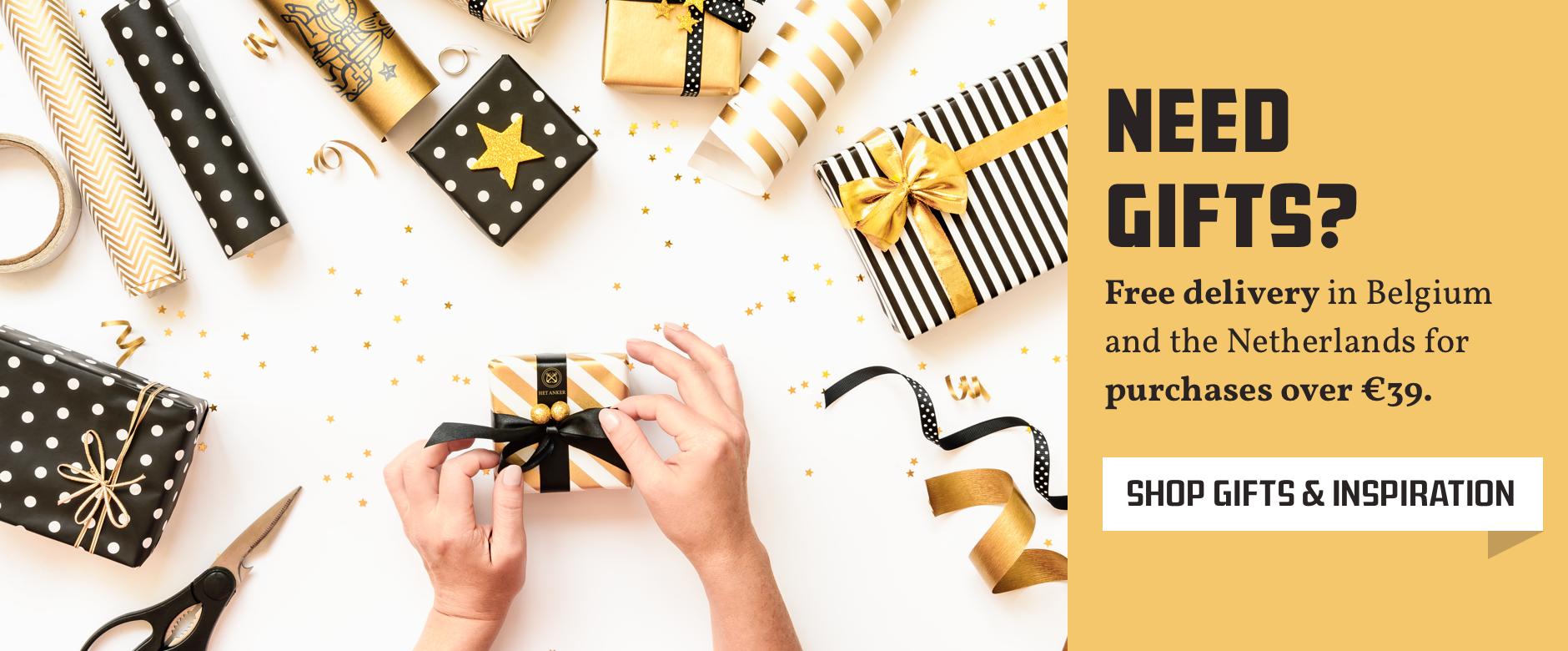Het Anker cadeautjes en cadeaupapier met een goud thema